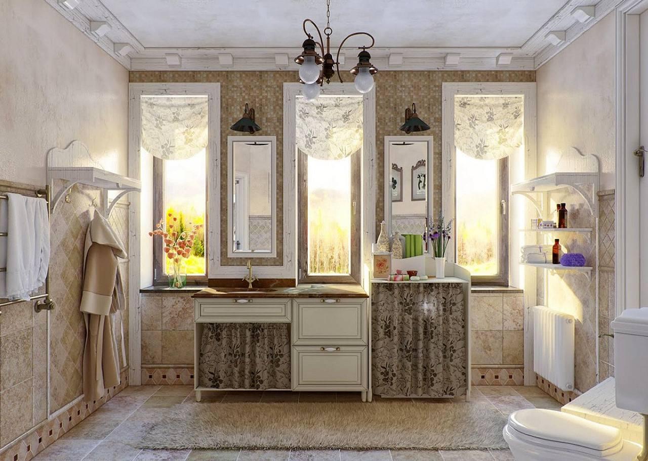 bagno con arredamento in stile provenzale