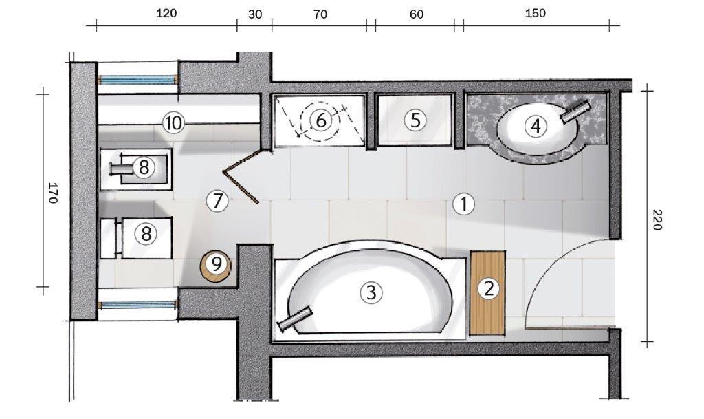 La miglior disposizione dei sanitari per il bagno bagnolandia - Dimensioni minime cucina bar ...