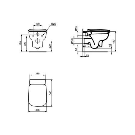 Ideal Standard Esedra Vaso Sospeso A Cacciata Con Sedile Bagnolandia