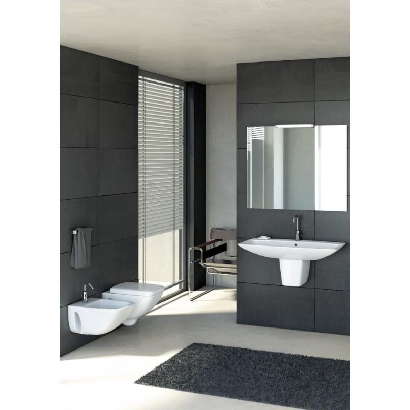 Ideal standard cantica wc sospeso scarico a parete con for Scarico wc a parete