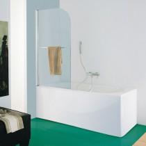 Paratia per vasca da bagno con porta asciugamano esterno