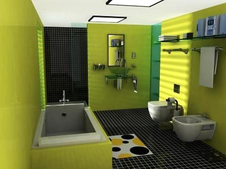 Bagno colorato di verde