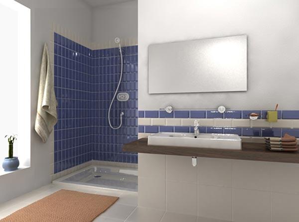 Rivestimento bagno diviso a zone con piastrelle