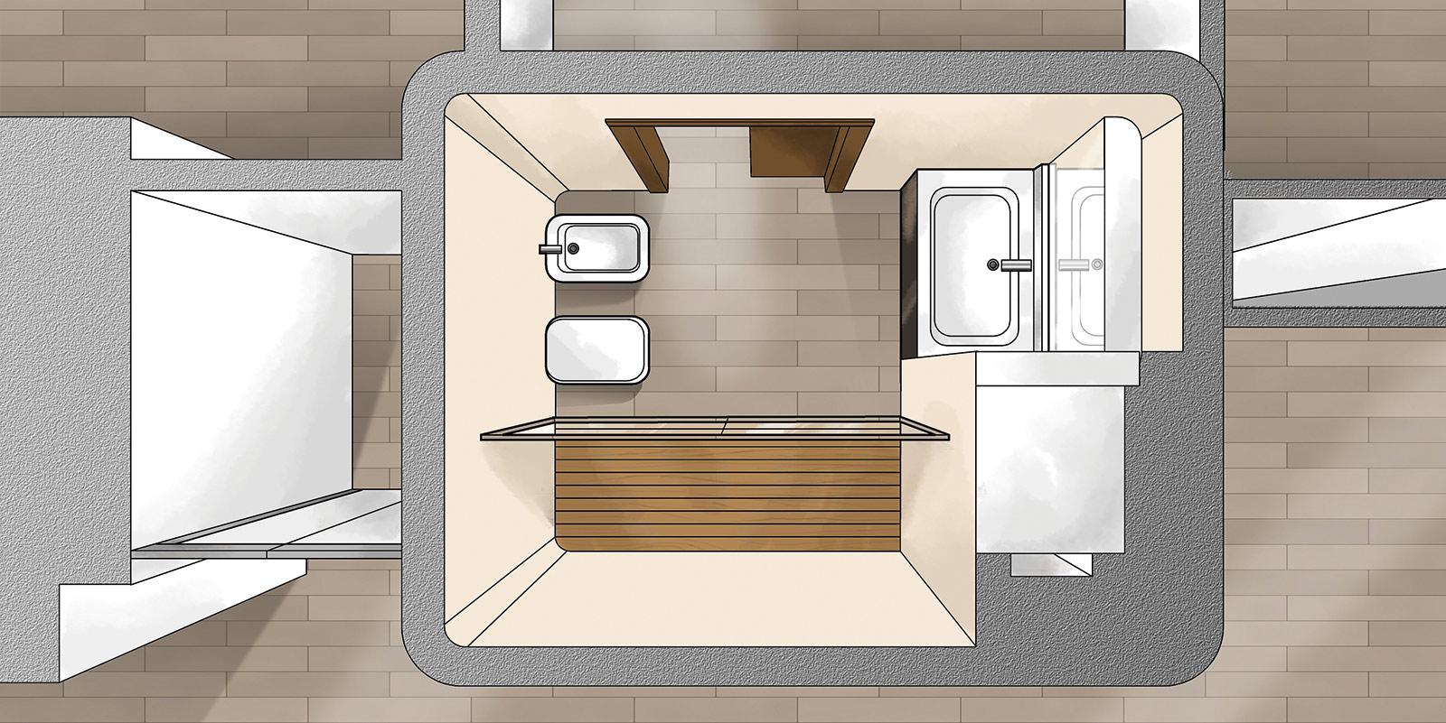69fd92d884 Disposizione vasche e sanitari per bagno piccolo